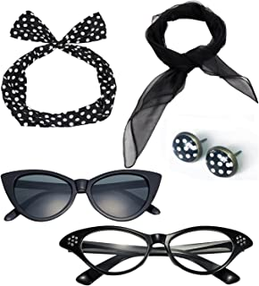 d416c2d8b60dd 50 s Costume Accessories Set Chiffon Scarf Cat Eye Glasses Bandana Tie  Headband and Earrings