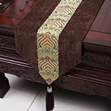 Royare Elegant Design Brown Yellow Flower Pattern Cloth Table Runner Modern Simple Fashion Upscale Living Room Kitchen Res...