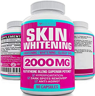 Glutathione Skin Whitening Pills - Vegan Skin Bleaching Pills for Dark Spots, Acne & Scar Removal - Made in Usa - Natural ...