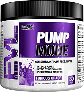 Evlution Nutrition Pump Mode Nitric Oxide Booster to Support Intense Pumps, Performance and Vascularity (Furious Grape, 30 Servings)