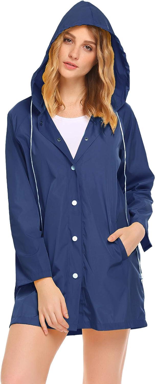SoTeer Womens Waterproof Raincoat Hooded Max 48% OFF Rain New York Mall Long Lightwei Coat