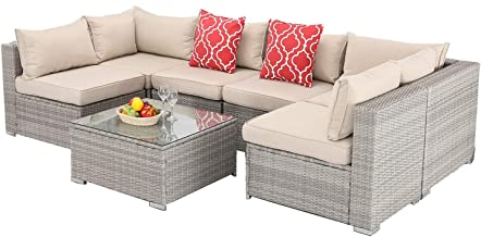 Furnimy 7 PCS Outdoor Patio Furniture Set Cushioned Sectional Conversation Sofa Set Rattan Wicker Gray with Tempered Glass...