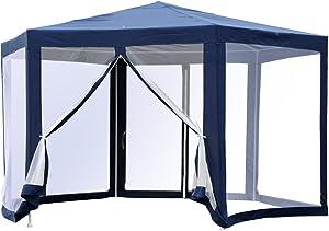 Outsunny Tonnelle Barnum Tente de réception hexagonale 10 m² Style Cosy métal Polyester imperméabilisé Bleu Blanc