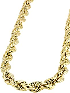 "Orostar 10K Yellow Gold 5MM, 6MM, 7MM, Diamond Cut Handmade Rope Chain Necklace, 16"" - 30"""