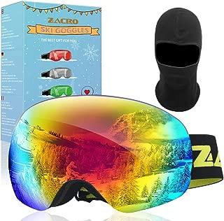 Zacro Maschera da Sci, Occhiali da Sci Ski Snowboard Antivento Anti Fog UV 400 Protezione Occhiali OTG a Doppia Lente per Sci, Snowboard, Motoslitta, Antiappannamento