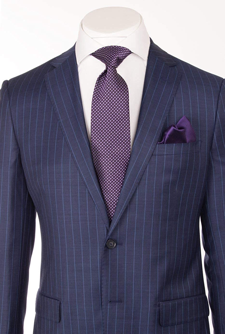 Porto Slim Fit, New Blue with F.Blue Pinstripe, Pure Wool Suit by ...