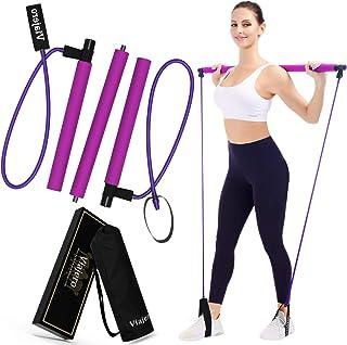 Viajero Pilates Bar Kit for Portable Home Gym Workout – 2 Latex Exercise Resistance..