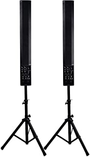 Sound Town Pair of Powered 6 x 5 Inches Column Speakers Line Array System with Speaker Stands for Live Music, House of Wor...