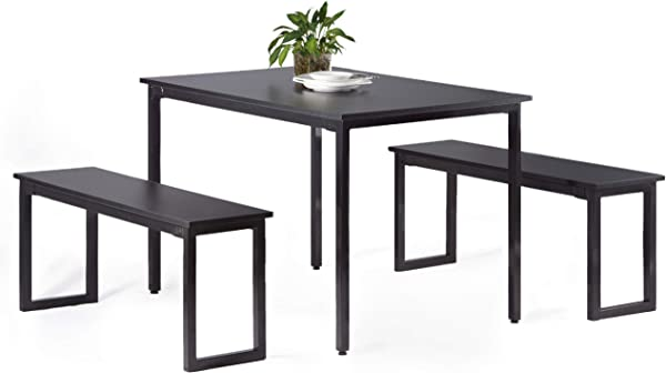 CharaHOME Dining Table Set Wood Dining Table With Two Benches Chairs Modern Dining Set Dining Room Kitchen Table 3 Piece Set Furniture Kitchenette Table
