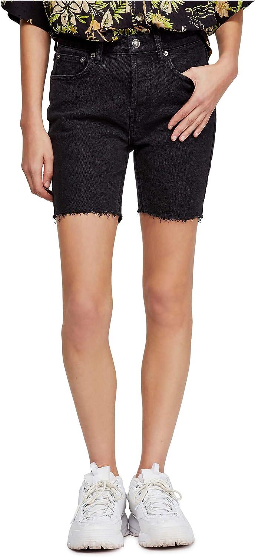We The Free Womens Bermuda Frayed Hem Denim Shorts