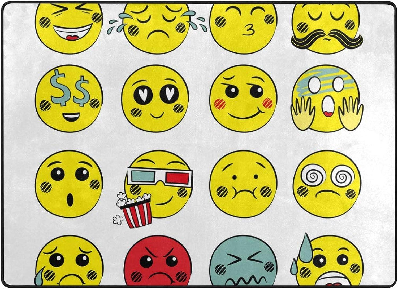 FAJRO Emoji Face Emotions Polyester Entry Way Doormat Area Rug Multipattern Door Mat Floor Mats shoes Scraper Home Dec Anti-Slip Indoor Outdoor