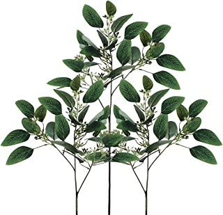 6 Pcs Artificial Seeded Eucalyptus Leaves Artificial Eucalyptus Stems Bulk in Green Eucalyptus Wreaths Garland Bouquet Floral Arrangements Holiday Christmas Thanksgiving Home Decor (Green, Pack of 6)