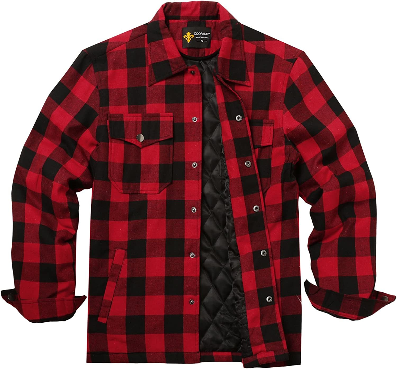 COOFANDY Camisa para hombre con forro interior, camisa de leñador térmica, chaqueta de invierno