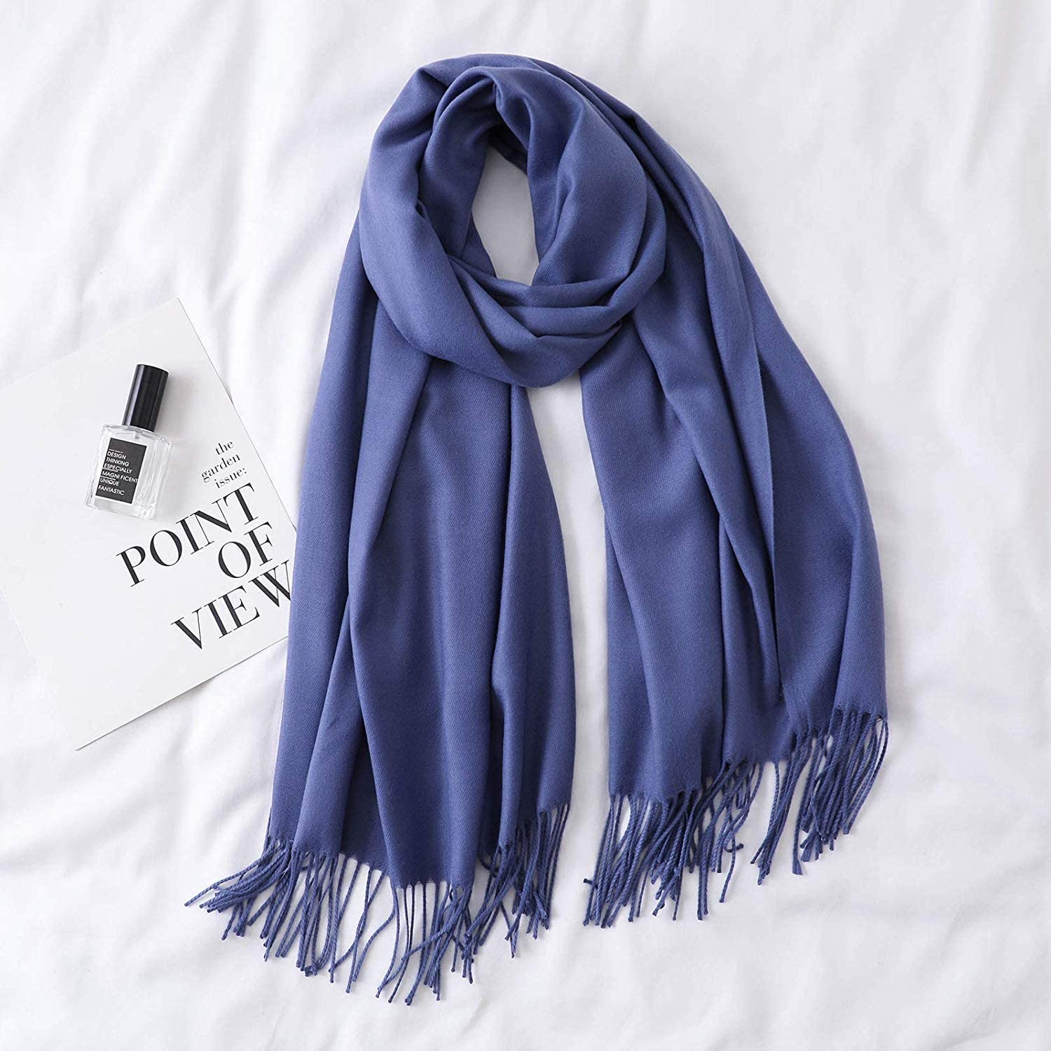 Scarf for Gift Scarf Korean Female Autumn and Winter Monochrome Warm Thick Long Summer air Conditioning Tassel Shawl Dualuse (color   Red) Classic Scarf (color   Navy)