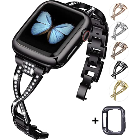JFdragon Watch Bands Compatible with Apple Watch 38mm 40mm 42mm 44mm SE Series 6 5 4 3 2 1 Women Jewelry Metal Wristband Strap with Bling Diamond Replacement Bracelet (Black,38mm/40mm)
