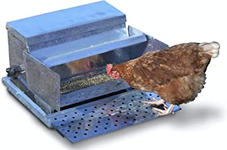 RentACoop Metallic Treadle Feeder - Holds up to 25 LBS of Feed