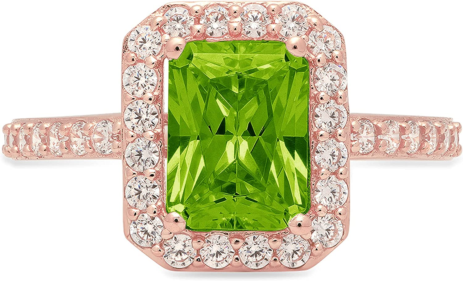 2.07ct Brilliant Emerald Cut Solitaire Accent Halo Genuine Flawless Natural Green Peridot Gemstone Engagement Promise Anniversary Bridal Wedding Ring Solid 18K Rose Gold