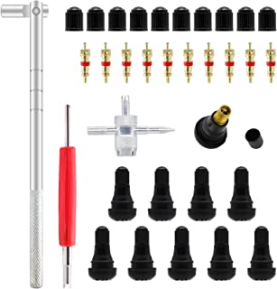 ZHSMS Conjunto de Ferramentas de Puxador de Válvula de Pneu com 10 Pçs TR412 Hastes de Válvula de Encaixe com Núcleos de H...