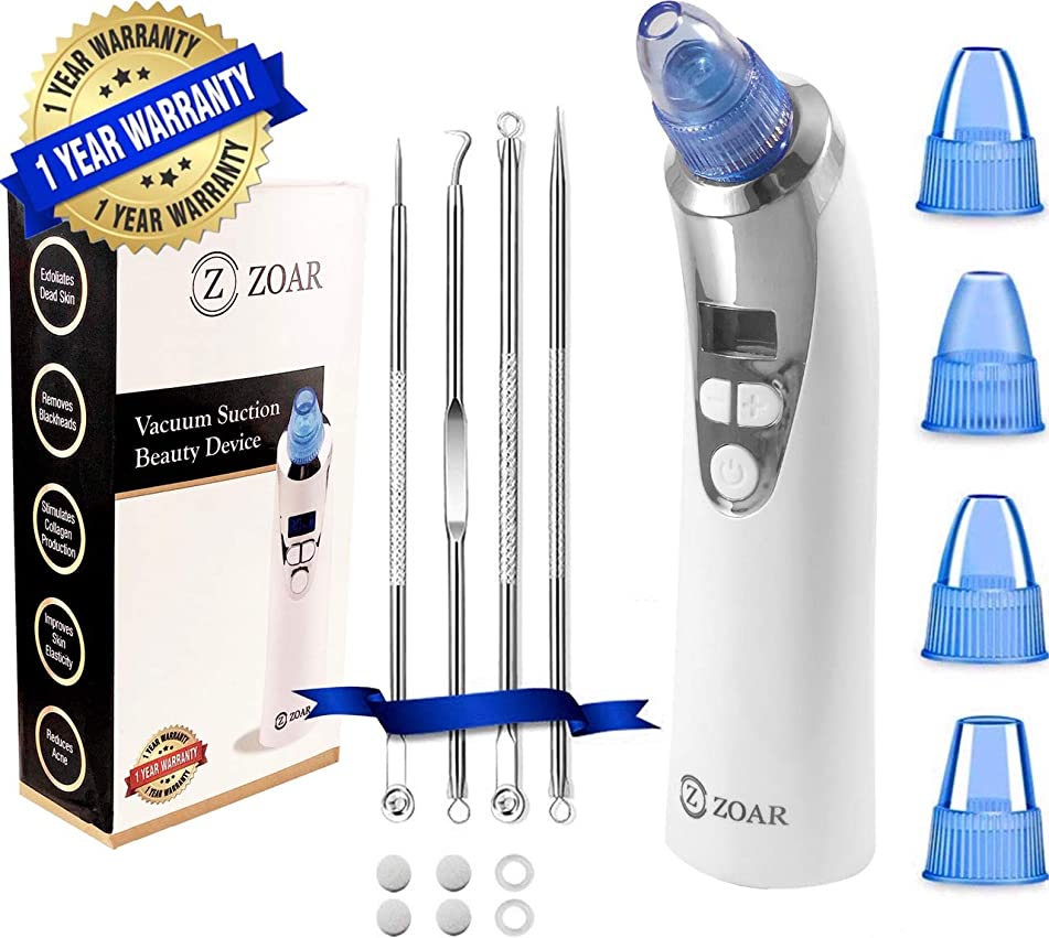 Blackhead Remover Vacuum- Electric Pore Vacuum Cleaner Blackhead Extractor Tool Device Acne Comedone Extractor Kit with LCD Display | USB rechargeable | 4 Probes & Bonus Blackhead Remover Tools