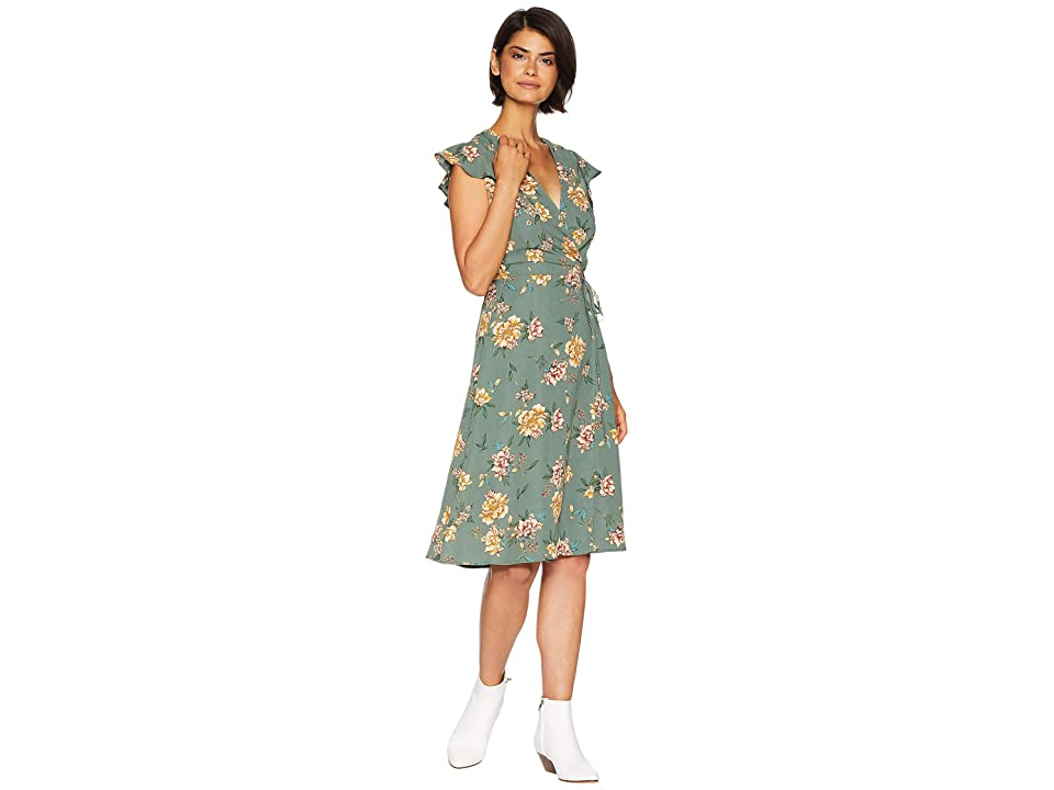 J.O.A. Ruffle Sleeve Wrap Dress (Green Floral) Women