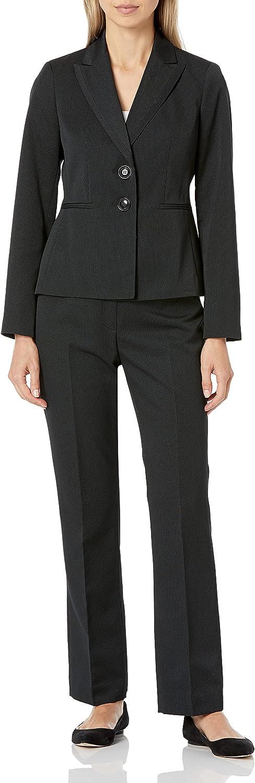 Le Suit Women's Petite 3 Button Notch Collar Tweed Pant Suit, black/night, 2P