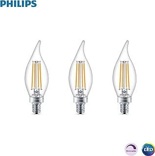 Philips LED Classic Glass Dimmable BA11 Bent Tip Light Bulb: 500-Luman, 5000-Kelvin, 5.5-Watt (60-Watt Equivalent), E12 Base, Clear, Daylight, 3-Pack