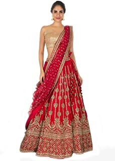 6a3528dd52 FREE Delivery by Amazon. Queen of India Fashion Women's Taffeta Silk Heavy  Embroidery Work Lehenga Choli (Red, Free