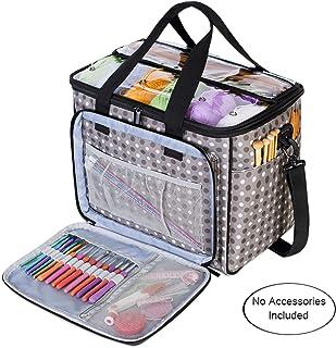 Teamoy Bolsa de Ovillos Organizador para Lanas Bolso de Crochet Mochila Bolsa de Almacenamiento de Tejido en Orden(NO Incluido Accesorios),Grande, Puntos Grises