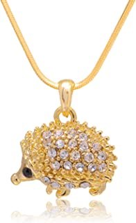 Spinningdaisy Crystal Sparkling Happy Hedgehog Necklace Gold | Cute Porcupine Necklace for Girls