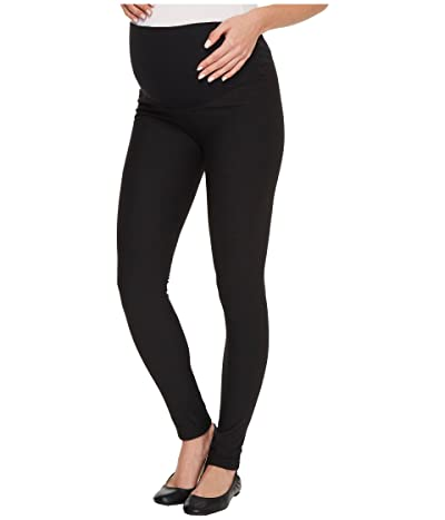 Plush Maternity Fleece-Lined Cotton Over-Belly Leggings (Black) Women