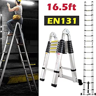 16.5ft Aluminum Telescoping Extension Ladder A-Frame Lightweight Portable Multi-Purpose Folding with Support Bar, 330lb Load Capacity