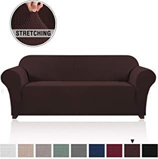 High Stretch Sofa Covers for 3 Cushion Couch Sofa Cover/Slipcover Whole Covered Furniture Protector with Elastic Bottom Polyester Spandex Jacquard Small Checks Pet Protector (Sofa, Brown)