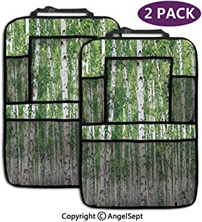 Fashion Backseat Car Organizer,Fresh Green Leaves Summer Forest Rural Landscape Lush Environmental Green White Black,19.3x27.2inch,Car Seat Protector Travel Accessories(2 Pack)