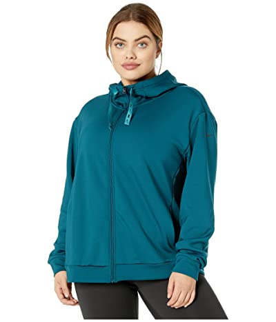 Nike Plus Size Therma All Time Ribbon Drawcord Full Zip Hoodie (Midnight Turquoise/Black) Women