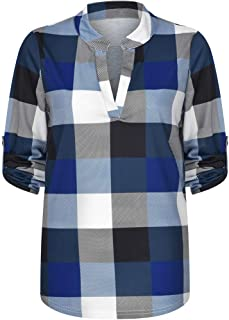 T Shirts for Womens, FORUU Zip Plaid V Neck Short Sleeve Casual Polo Blouse Tops