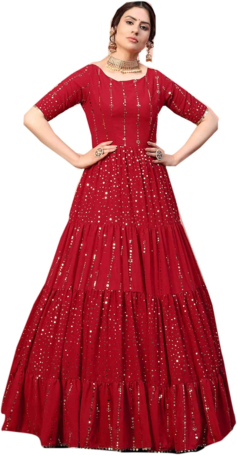 Red Stylish Eid Festival Georgette Flairy Sequin Girls Gown Party Cocktail Dress Muslim Long Anarkali 5433