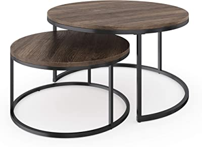 Nathan James Stella Round Modern Nesting Coffee Set of 2, Stacking Living Room Accent Tables with an Industrial Wood Finish and Powder Coated Metal Frame, Warm Nutmeg/Matte Black