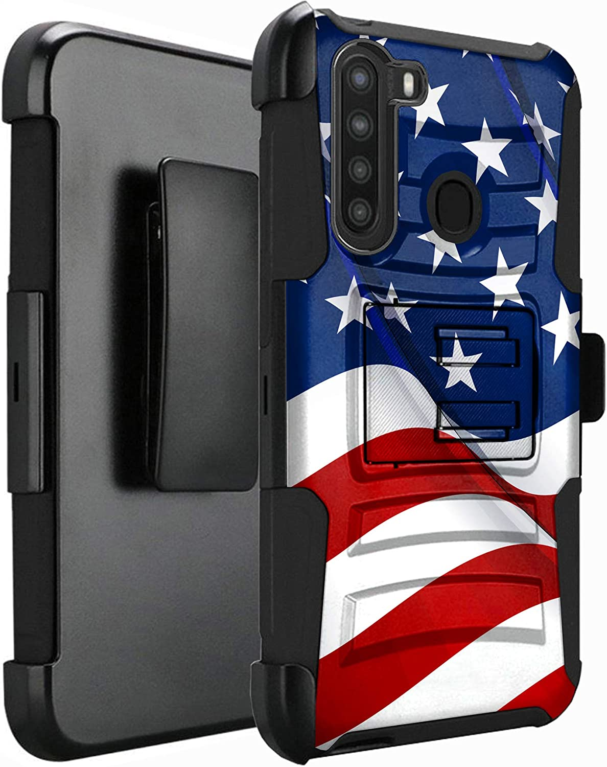 DALUX Hybrid Kickstand Holster Phone Case Compatible with Galaxy A21 (2020) - New Waving Half US Flag