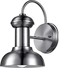 Globe Electric 44093 Lunes 1-Light Indoor/Outdoor Downward Wall Sconce, Brushed Steel Finish