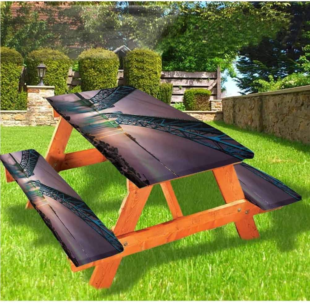 LEWIS FRANKLIN - Mantel ajustable para mesa de picnic y banco, diseño de puente del sur sobre Niagara con borde elástico, 28 x 72 pulgadas, juego de 3 piezas para mesa plegable