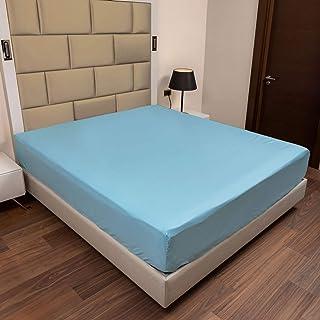 ABAKUHAUS Coton Drap-Housse, Drap de lit Super Doux Couleur Unie Élastique, 120 cm x 190 cm, Turquoise