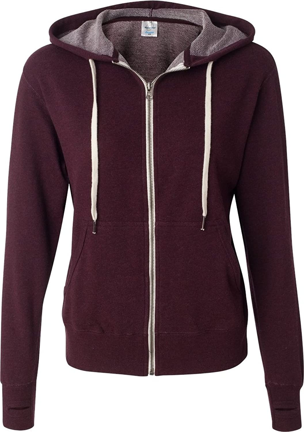 Independent Trading Co Mens French Terry Full Zip Hooded Sweatshirt. PRM90HTZ XLarge Burgundy Heather