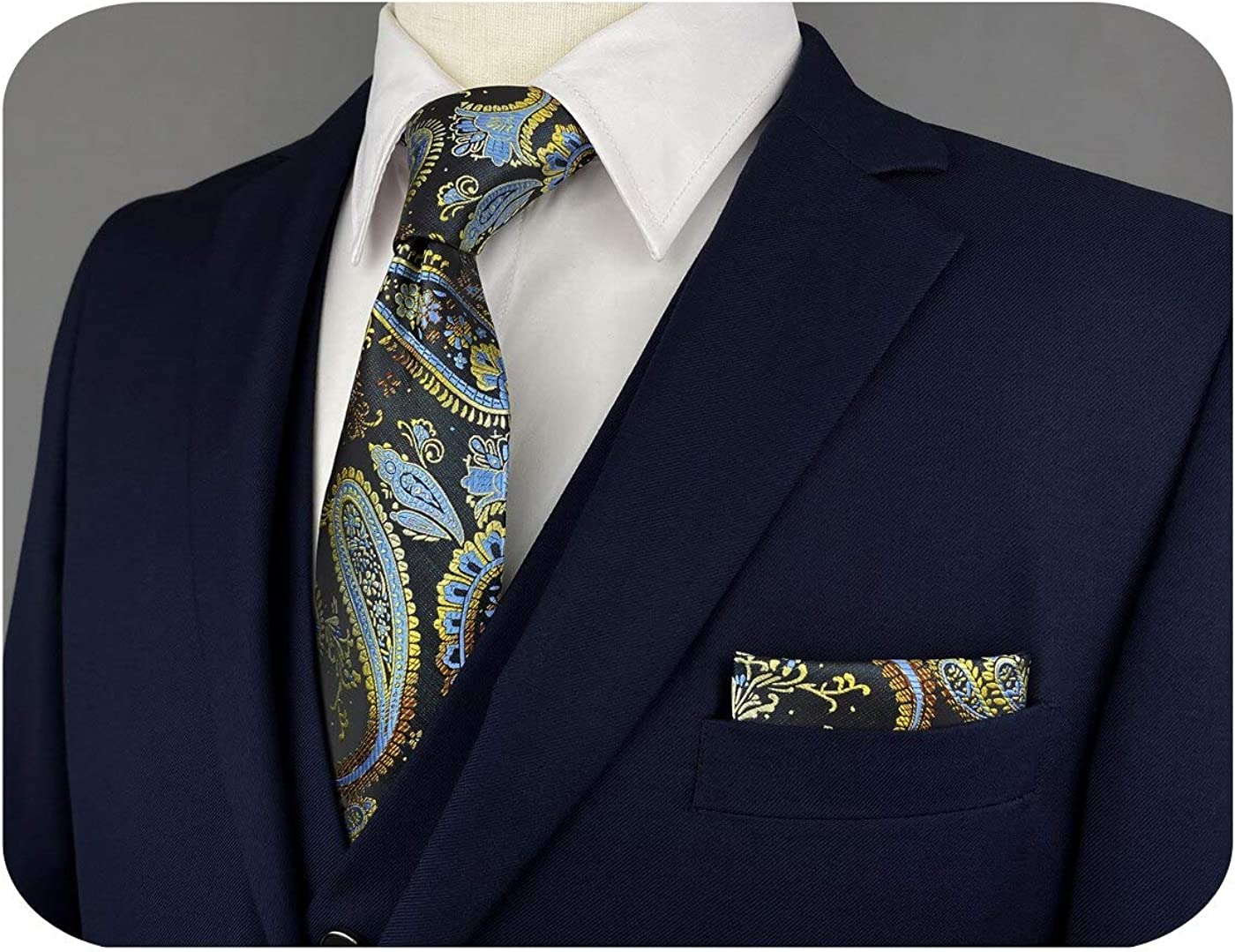 S&W SHLAX&WING Mens Ties Silk Black and Neckties for Men Paisley