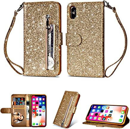 Glamorous Bling Gold Leather Wallet Case Credit Card Cash Stand Cover with Zipper - Estuches Fundas