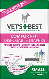 Vet's Best Comfort Fit Dog Diapers | Disposable Female Dog Diapers | Absorbent with Leak Proof Fit