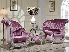 LONGren 3 Pieces Luxury Sofa Set, European Style/ (Set of Three)/43.3x34.6x43.7inches,25.6x25.6x22.8inches (Color : Purple)