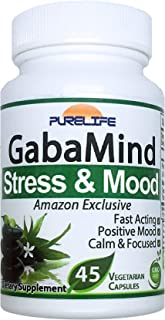 PureLife GabaMind – [Amazon Exclusive] Reduce Stress and Anxiety, Boost Mood, Improve Mental Focus, Promote Relaxation. Ou...