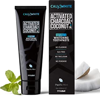 Cali White ACTIVATED CHARCOAL & ORGANIC COCONUT OIL TEETH WHITENING TOOTHPASTE, MADE..
