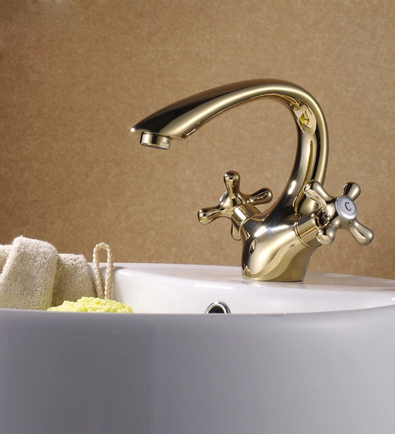 LHbox Basin Mixer Tap Bathroom Sink Faucet Basin, hot and cold continental wash-basin mixer, copper gold