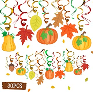 30CT Autumn Fall Theme Party Hanging Foil Swirl Decorations Pumpkins Maple Leaves Acorns Baby Shower Bridal Shower Harvest Thanksgiving Photo Props Ideas Ceiling Door Whirls Streamers Supplies